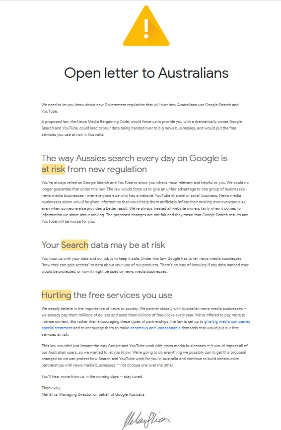 Google Australia could trigger a revolution